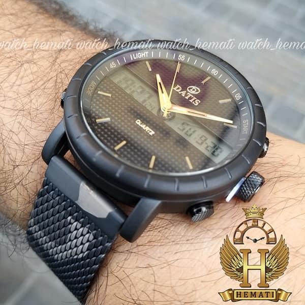 خرید ساعت مردانه داتیس دوزمانه مدل D8471G بند چریکی اورجینال قاب مشکی