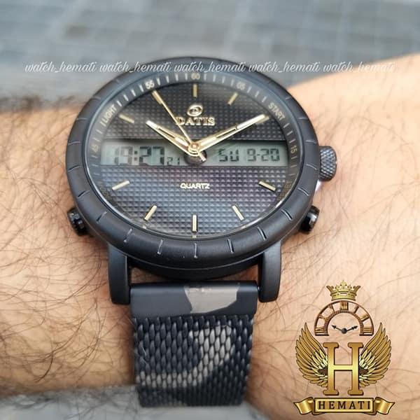 قیمت ساعت مچی مردانه داتیس دوزمانه مدل D8471G بند چریکی اورجینال قاب مشکی