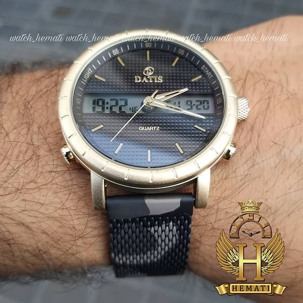 قیمت ساعت مچی مردانه داتیس دوزمانه مدل D8471G بند چریکی اورجینال قاب طلایی