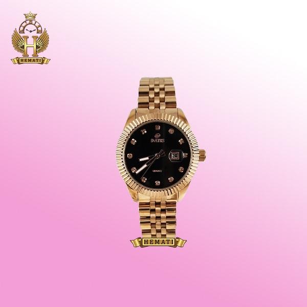 خرید ساعت زنانه داتیس مدل D8475L رزگلد صفحه مشکی اورجینال