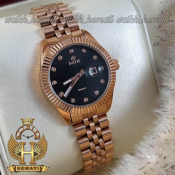 خرید اینترنتی ساعت زنانه داتیس مدل D8475L رزگلد صفحه مشکی اورجینال