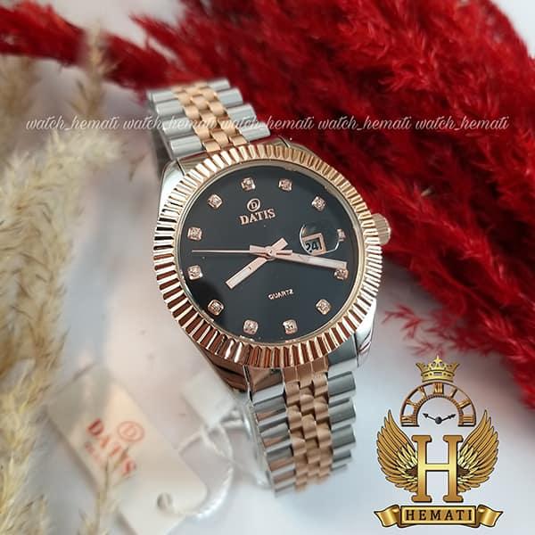ساعت زنانه داتیس مدل D8475L نقره ای-رزگلد صفحه مشکی اورجینال