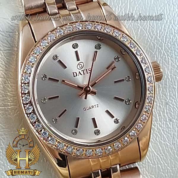خرید اینترنتی ساعت مچی زنانه داتیس اورجینال Datis D8476L رزگلد صفحه نقره ای