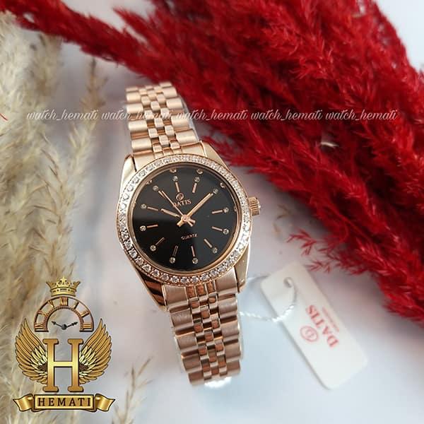 ساعت زنانه داتیس اورجینال Datis D8476L رزگلد صفحه مشکی