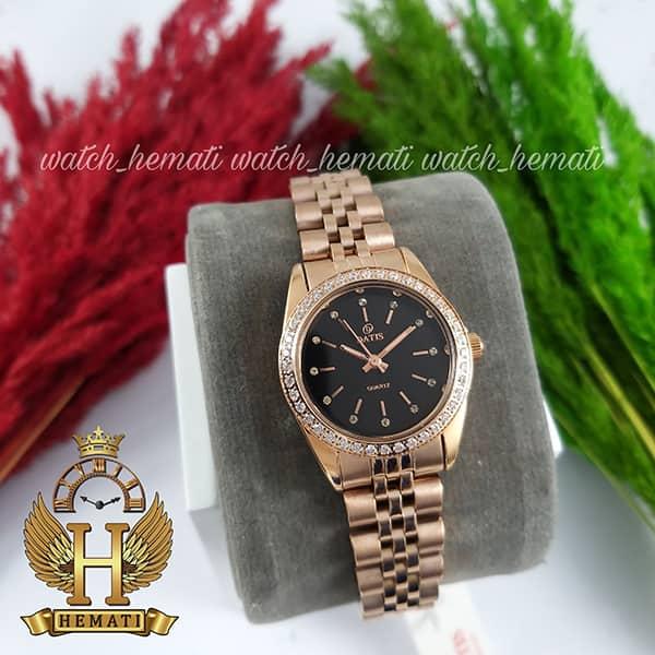 خرید اینترنتی ساعت زنانه داتیس اورجینال Datis D8476L رزگلد صفحه مشکی