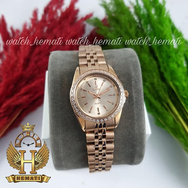 خرید ساعت زنانه داتیس اورجینال Datis D8476L رزگلد صفحه نقره ای