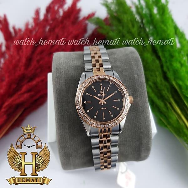 قیمت ساعت زنانه داتیس اورجینال Datis D8476L نقره ای رزگلد صفحه مشکی