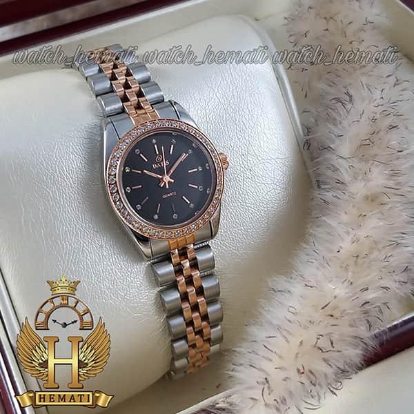 خرید اینترنتی ساعت مچی زنانه داتیس اورجینال Datis D8476L نقره ای رزگلد صفحه مشکی
