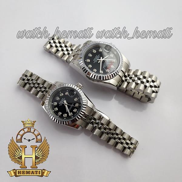 خرید ساعت زنانه رولکس دیت جاست Rolex Datejust RODJL107 نقره ای صفحه مشکی
