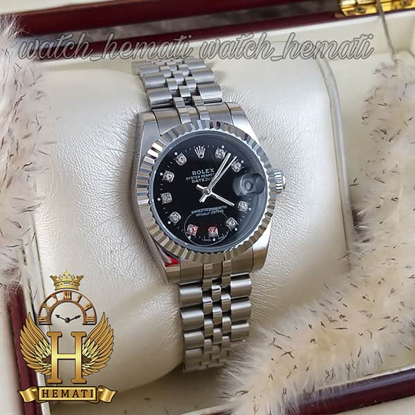 قیمت ساعت زنانه رولکس دیت جاست Rolex Datejust RODJL107 نقره ای صفحه مشکی