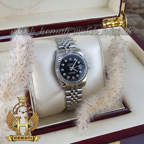 مشخصات ساعت زنانه رولکس دیت جاست Rolex Datejust RODJL107 نقره ای صفحه مشکی