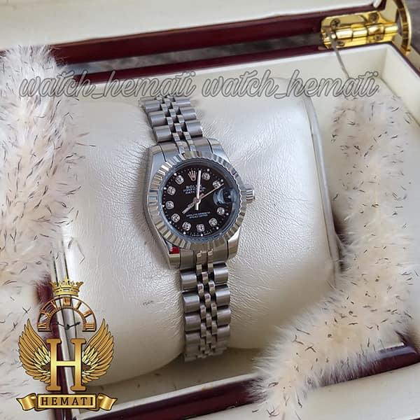 خرید ارزان ساعت زنانه رولکس دیت جاست Rolex Datejust RODJL107 نقره ای صفحه مشکی