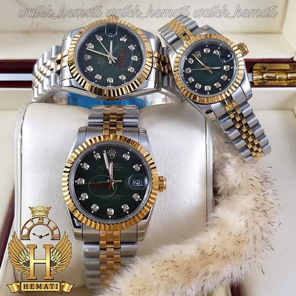 خرید آنلاین ساعت ست مردانه و زنانه رولکس دیت جاست Rolex Datejust rodjst104 نقره ای طلایی با صفحه سبز و ایندکس نگین