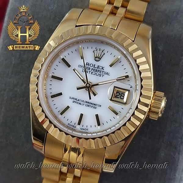 خرید ، قیمت ، مشخصات ساعت زنانه رولکس دیت جاست Rolex Datejust RODJL26200 طلایی ایندکس خط ، قطر 26 میلیمتر