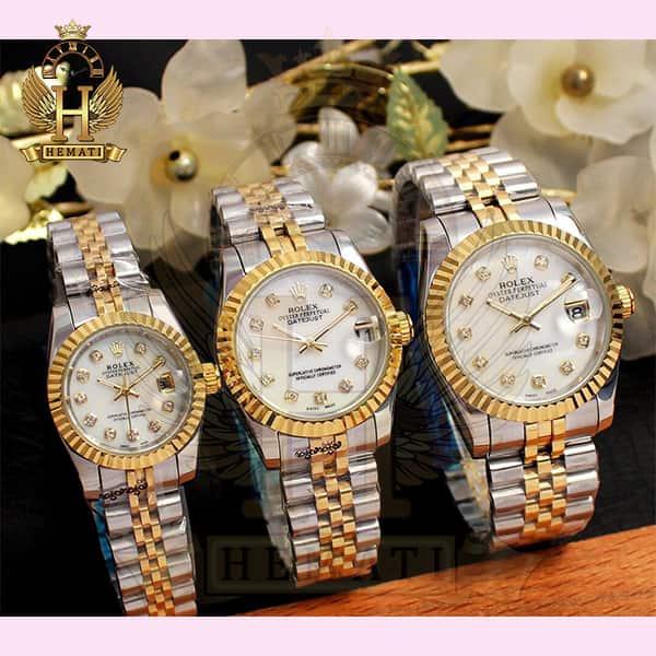 خرید ، قیمت ، مشخصات ساعت ست مردانه و زنانه رولکس دیت جاست Rolex Datejust rodjst107 نقره ای طلایی و صفحه سفید صدف با ایندکس نگین