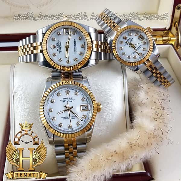 خرید اینترنتی ساعت ست مردانه و زنانه رولکس دیت جاست Rolex Datejust rodjst107 نقره ای طلایی و صفحه سفید صدف با ایندکس نگین