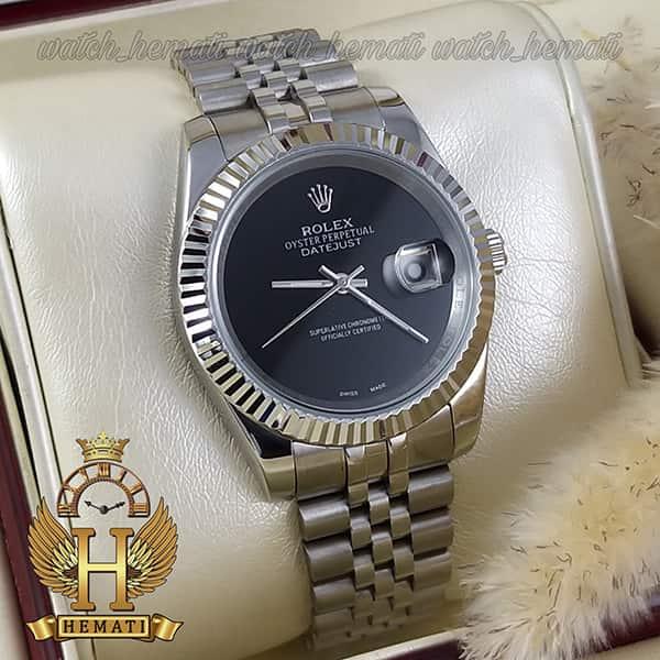 خرید ساعت مردانه رولکس دیت جاست Rolex Datejust RODJM602 قاب و بند نقره ای صفحه مهندسی به رنگ مشکی