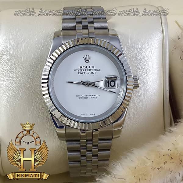 خرید اینترنتی ساعت مردانه رولکس دیت جاست Rolex Datejust RODJM602 قاب و بند نقره ای صفحه مهندسی به رنگ سفید