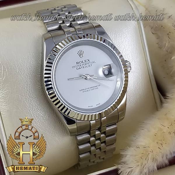 قیمت ساعت مردانه رولکس دیت جاست Rolex Datejust RODJM602 قاب و بند نقره ای صفحه مهندسی به رنگ سفید