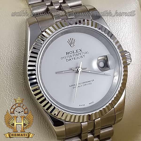 خرید انلاین ساعت مردانه رولکس دیت جاست Rolex Datejust RODJM602 قاب و بند نقره ای صفحه مهندسی به رنگ سفید