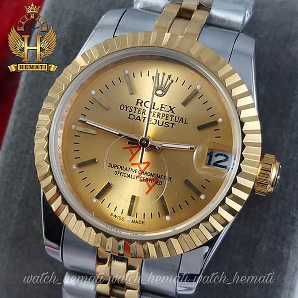 خرید ارزان ساعت زنانه رولکس دیت جاست Rolex Datejust RODJL202 نقره ای طلایی ، ایندکس خط ، قطر 32 میلیمتر
