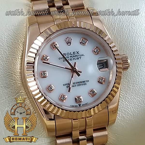 خرید ارزان ساعت زنانه رولکس دیت جاست Rolex Datejust RODJL100 رزگلد صفحه سفید صدفی