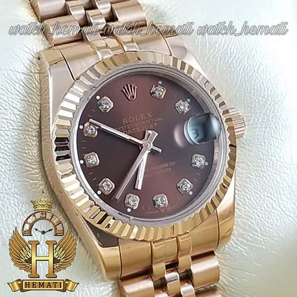خرید ارزان ساعت مچی زنانه رولکس دیت جاست Rolex Datejust RODJL32105 رزگلد ، قطر 32 میلیمتر صفحه قهوه ای