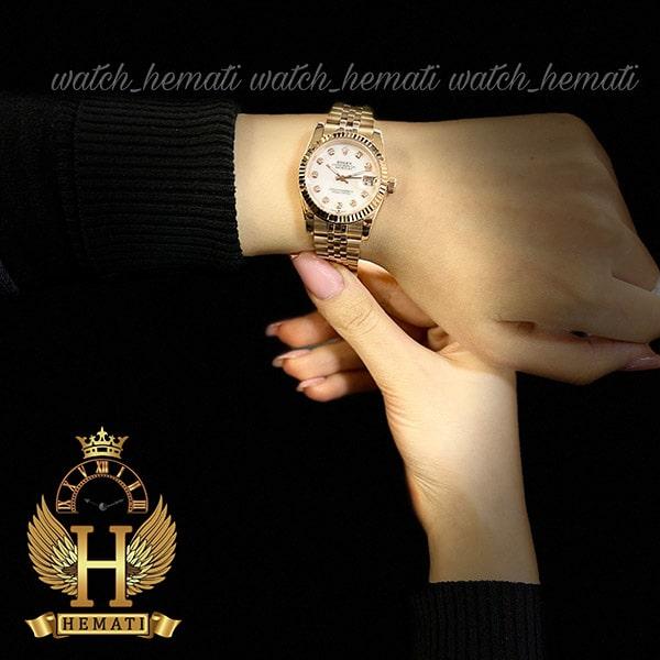 خرید انلاین ساعت زنانه رولکس دیت جاست Rolex Datejust RODJL100 رزگلد صفحه سفید صدفی