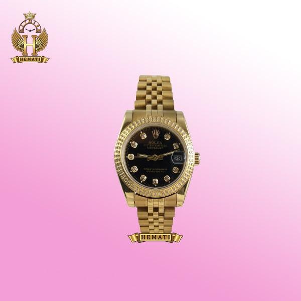 ساعت زنانه رولکس دیت جاست مدل Datejust 123 طلایی دورقاب نگین دار