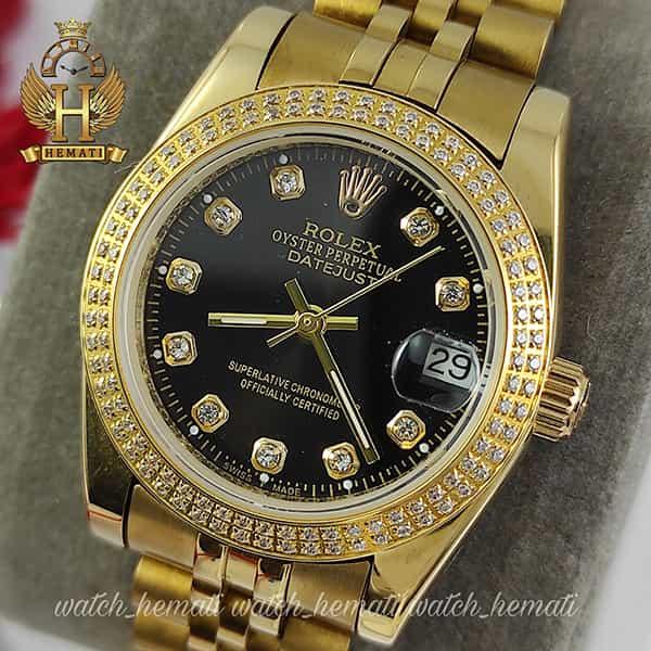 خرید ارزان ساعت زنانه رولکس دیت جاست Rolex Datejust RODJL32503 طلایی ، دور قاب دو رج نگین ، قطر 32 میلیمتر