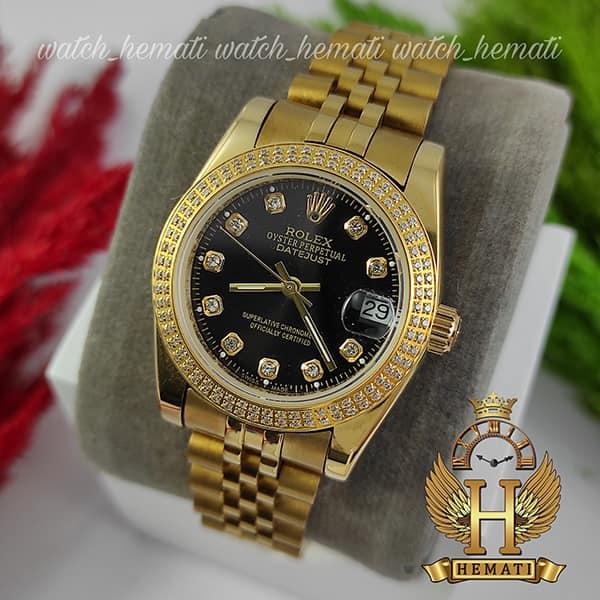 خرید ، قیمت ، مشخصات ساعت زنانه رولکس دیت جاست Rolex Datejust RODJL32503 طلایی ، دور قاب دو رج نگین ، قطر 32 میلیمتر