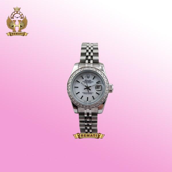 ساعت زنانه رولکس دیت جاست Rolex Datejust RODJL26502 نقره ای ، دور قاب نگین و ایندکس خط قطر 26 میلیمتر