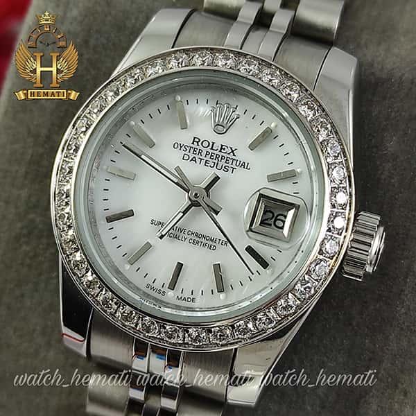خرید ارزان ساعت زنانه رولکس دیت جاست Rolex Datejust RODJL26502 نقره ای ، دور قاب نگین و ایندکس خط قطر 26 میلیمتر