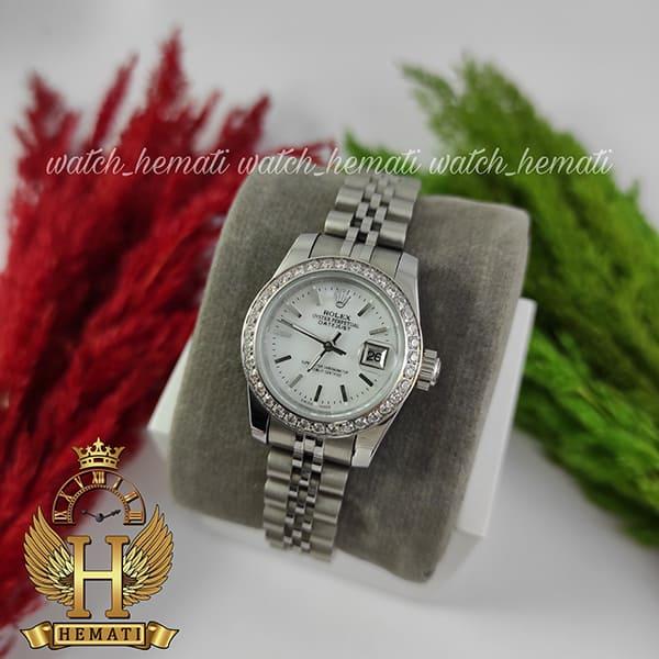 خرید اینترنتی ساعت زنانه رولکس دیت جاست Rolex Datejust RODJL26502 نقره ای ، دور قاب نگین و ایندکس خط قطر 26 میلیمتر