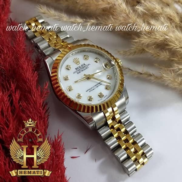 خرید ، قیمت ، مشخصات ساعت زنانه رولکس دیت جاست اتوماتیک Rolex Datejust RODJL32104 نقره ای طلایی ، قطر 32 میلیمتر