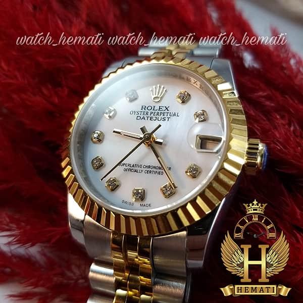 خرید ارزان ساعت زنانه رولکس دیت جاست اتوماتیک Rolex Datejust RODJL32104 نقره ای طلایی ، قطر 32 میلیمتر