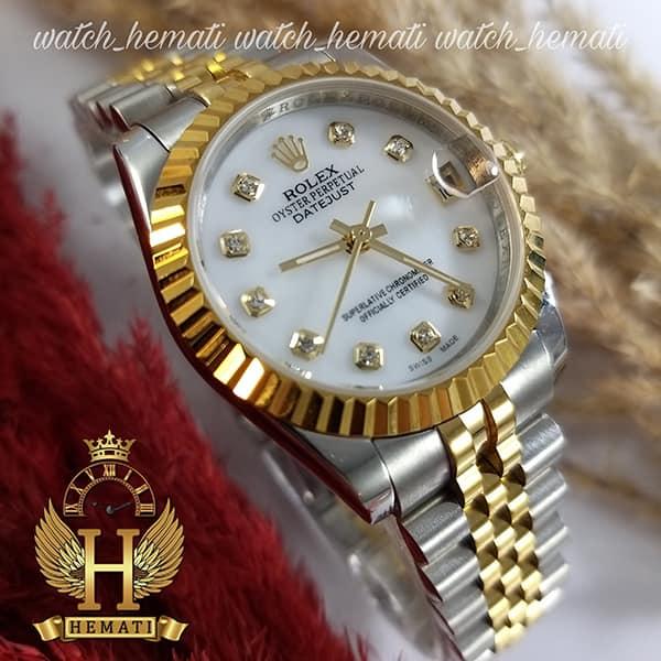 خرید اینترنتی ساعت زنانه رولکس دیت جاست اتوماتیک Rolex Datejust RODJL32104 نقره ای طلایی ، قطر 32 میلیمتر