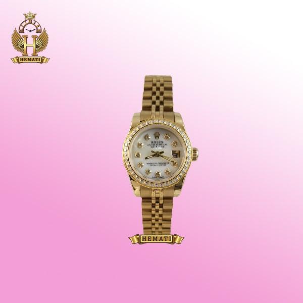 ساعت زنانه رولکس دیت جاست Rolex Datejust RODJL26503 طلایی ، دور قاب نگین ، قطر 26 میلیمتر