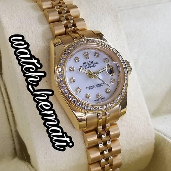 قیمت و مشخصات ساعت مچی زنانه رولکس دیت جاست Rolex Datejust RODJL26503 طلایی ، دور قاب نگین ، قطر 26 میلیمتر