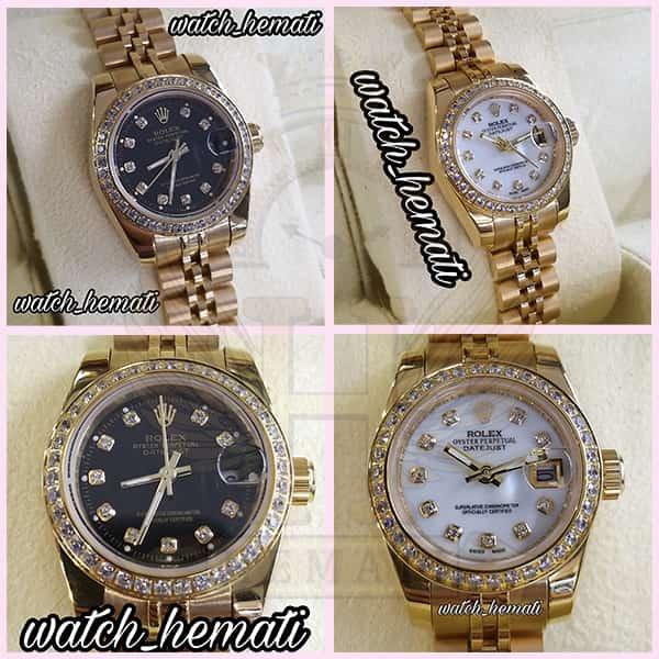 خرید ساعت زنانه رولکس دیت جاست Rolex Datejust RODJL26503 طلایی ، دور قاب نگین ، قطر 26 میلیمتر