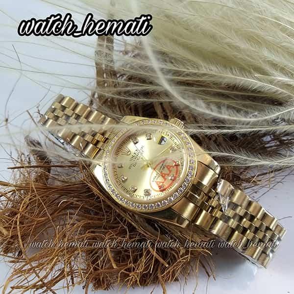 قیمت ساعت زنانه رولکس دیت جاست Rolex Datejust RODJL26503 طلایی ، دور قاب نگین ، قطر 26 میلیمتر