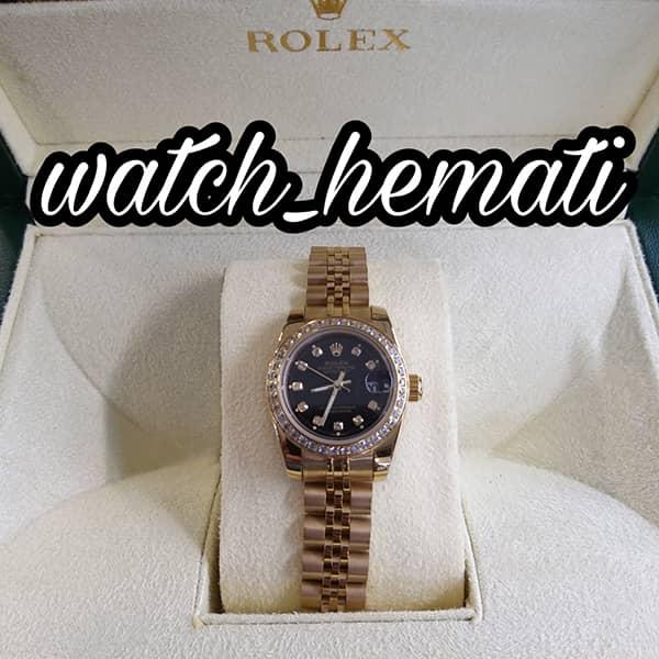 خرید اینترنتی ساعت زنانه رولکس دیت جاست Rolex Datejust RODJL26503 طلایی ، دور قاب نگین ، قطر 26 میلیمتر