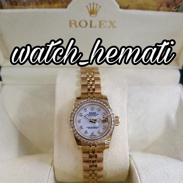خرید انلاین ساعت زنانه رولکس دیت جاست Rolex Datejust RODJL26503 طلایی ، دور قاب نگین ، قطر 26 میلیمتر