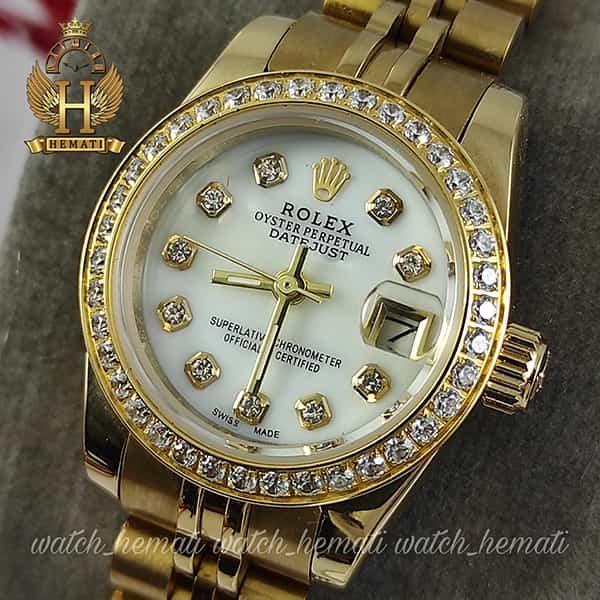 ساعت مچی زنانه رولکس دیت جاست Rolex Datejust RODJL26503 طلایی ، دور قاب نگین ، قطر 26 میلیمتر