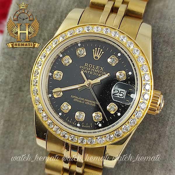 خرید ساعت مچی زنانه رولکس دیت جاست Rolex Datejust RODJL26503 طلایی ، دور قاب نگین ، قطر 26 میلیمتر