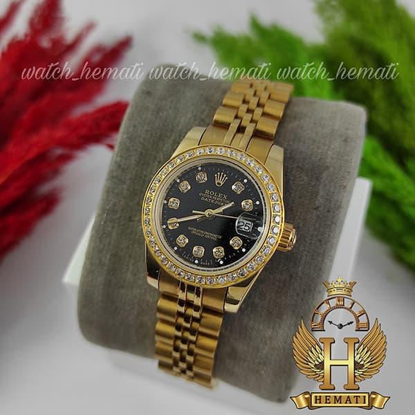 مشخصات ساعت زنانه رولکس دیت جاست Rolex Datejust RODJL26503 طلایی ، دور قاب نگین ، قطر 26 میلیمتر