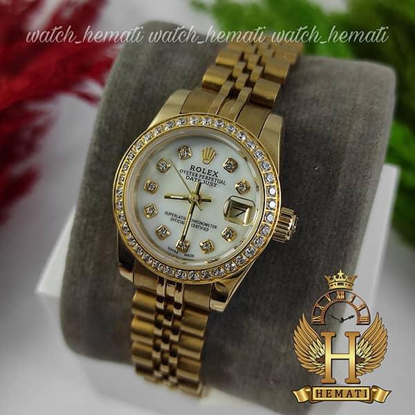 خرید ارزان ساعت زنانه رولکس دیت جاست Rolex Datejust RODJL26503 طلایی ، دور قاب نگین ، قطر 26 میلیمتر