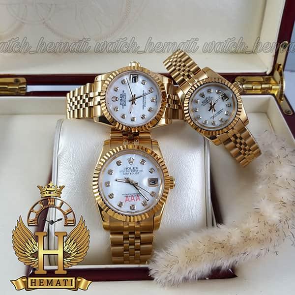 خرید ، قیمت ، مشخصات ساعت ست مردانه و زنانه رولکس دیت جاست Rolex Datejust rodjst100 طلایی و ایندکس نگین
