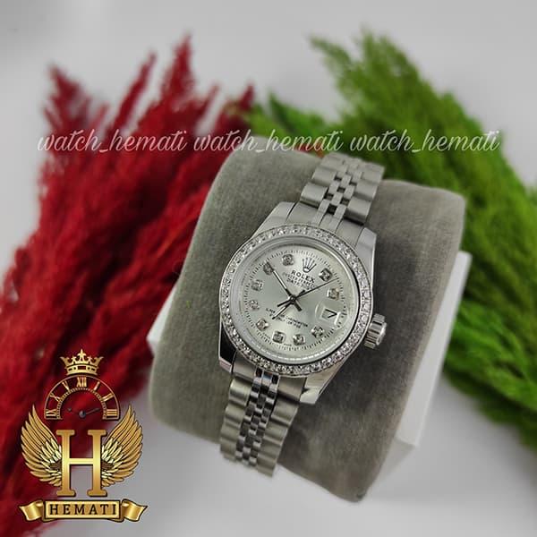 خرید ارزان ساعت زنانه رولکس دیت جاست Rolex Datejust RODJL26501 نقره ای ، دور قاب نگین ، ایندکس نگین ، قطر 26 میلیمتر