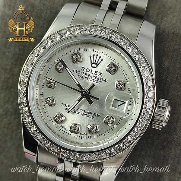 خرید اینترنتی ساعت زنانه رولکس دیت جاست Rolex Datejust RODJL26501 نقره ای ، دور قاب نگین ، ایندکس نگین ، قطر 26 میلیمتر